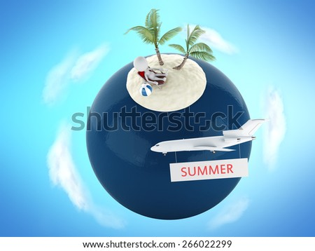 3d image. White people in tropical island with palm tree. Travel and vacation concept - stock photo