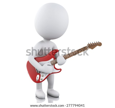 3d image. White people playing electric guitar. Isolated white background - stock photo