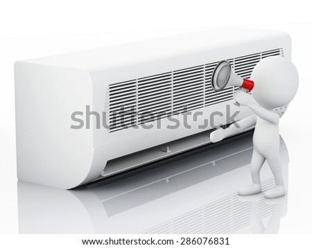 3d image. White people with air conditioner. Summer concept. Isolated white background