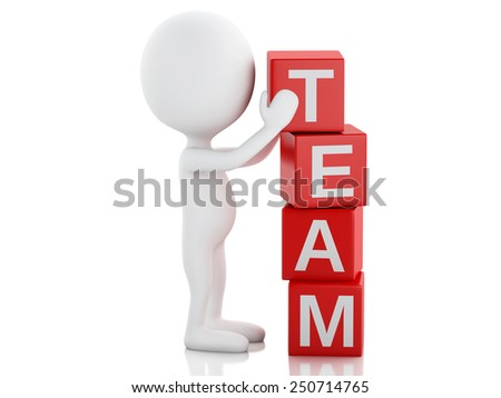 3d image. White people with cubes with word team. Business concept. Isolated white background - stock photo