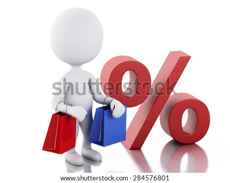 3d image. White people with shopping bag. The discount offer. Isolated white background
