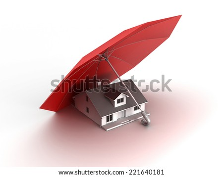3D image with umbrella and house under protection. - stock photo