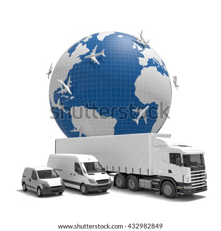 3d imageconcept of worldwide delivery - stock photo
