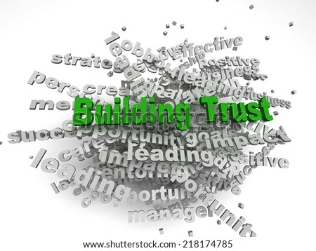 3d imagen Building Trust concept in word tag cloud on white background - stock photo