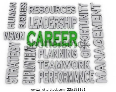 3d imagen Career concept word cloud background - stock photo