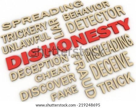 3d imagen Dishonesty concept word cloud background - stock photo