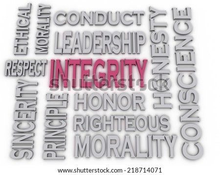 3d imagen Integrity concept word cloud background - stock photo