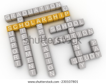 3d imagen Scholarship issues and concepts word cloud background - stock photo