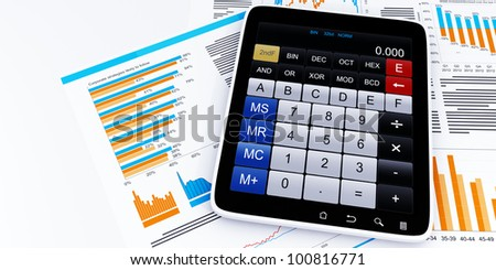 3D images: Tablet PC business graphics calculator - stock photo