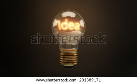 3D incandescent light bulb with a bright idea glowing filament - stock photo
