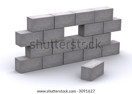 3d Incomplete Concrete Wall - stock photo
