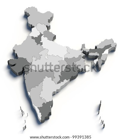 3d India grey map on white isolated - stock photo