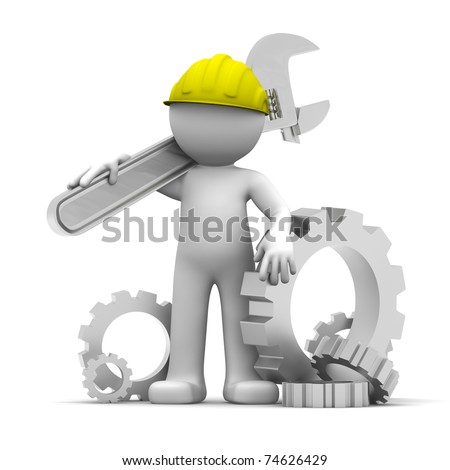 3D Industrial worker with wrench and gears. Conceptual illustration. Isolated on white - stock photo