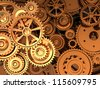 3d industry: background of golden gears - stock photo