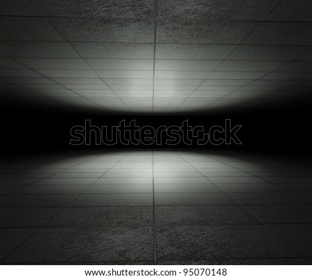 3d infinite space with grunge tiles - stock photo
