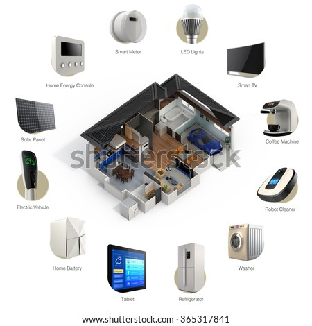 3D infographics of smart home automation technology. Smart appliances thumbnail image and text available. - stock photo