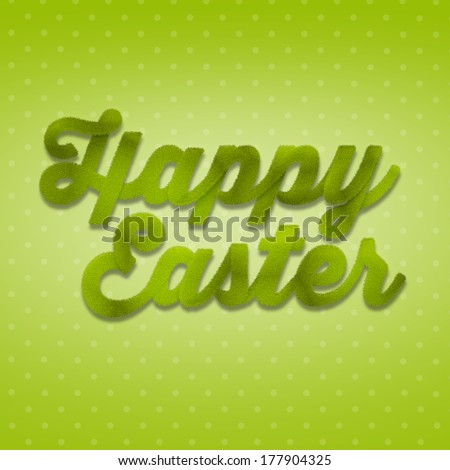 3D inscription Happy Easter, beautiful fresh supplement, spring greeting, font created from grass, eco natural typography, written headline, cheerful and funny addition Easter wishes  - stock photo