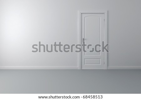 3d interior and white door and walls - stock photo