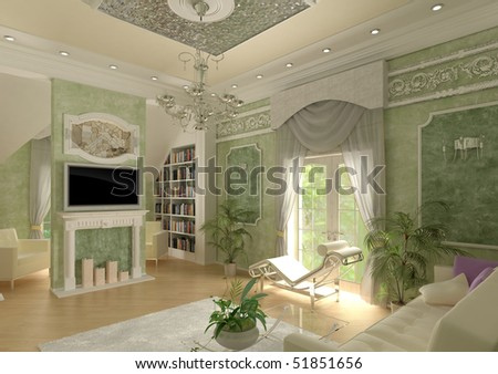 3D interior apartments with a sofa, an armchair in light green tone