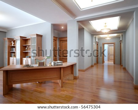 3d interior cabinet and classic stile - stock photo