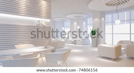 3d interior design blank room with white furniture - stock photo