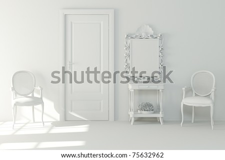 3d interior design - clay render - stock photo