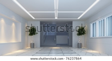 3d interior design hallway with plants - stock photo