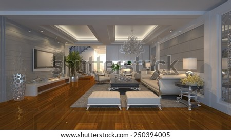 3D interior design of a luxury house  - stock photo