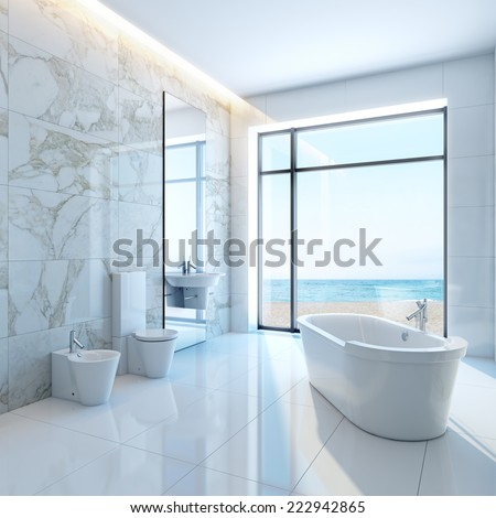 3d interior modern luxurious bathroom in house on a beach - stock photo