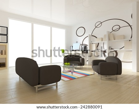 3D interior of a living room
