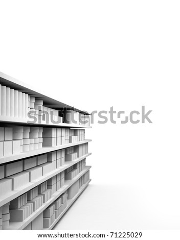 3d interior of a shopping mall in gray color
