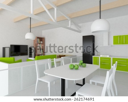3d interior of a white kitchen