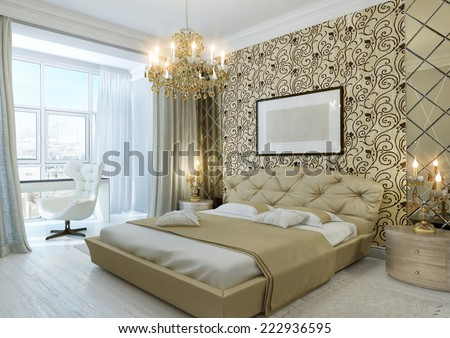 3d Interior of classic bedroom in gold color