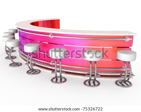 3d Interior of fashionable bar with cafeteria chairs - stock photo