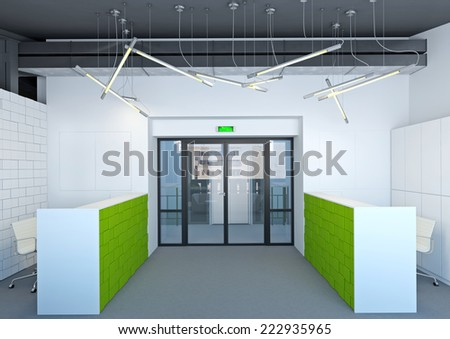 3d interior of office in gray color