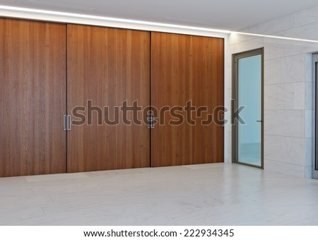 3d interior of white hall with lift and staircase - stock photo