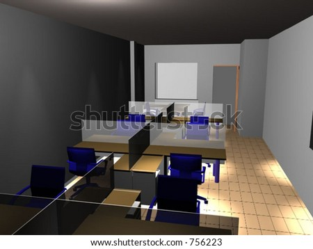3d interior - office
