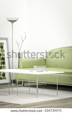 3d interior render image of a green sofa in a white room with space for your content - stock photo