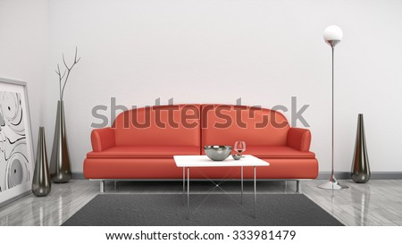 3d interior render image of a red sofa in a white room with space for your content - stock photo