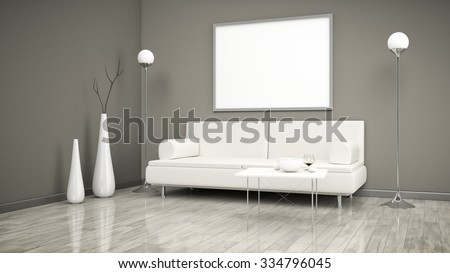 3d interior render image of a room with a sofa and a white picture frame for your content - stock photo