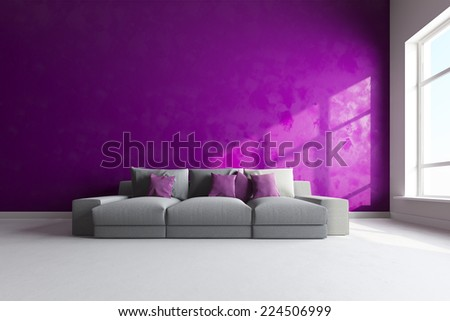 3d interior render of couch in bright color room - stock photo