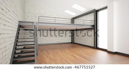 3d Interior Rendering Industrial Mezzanine Space Stock ...