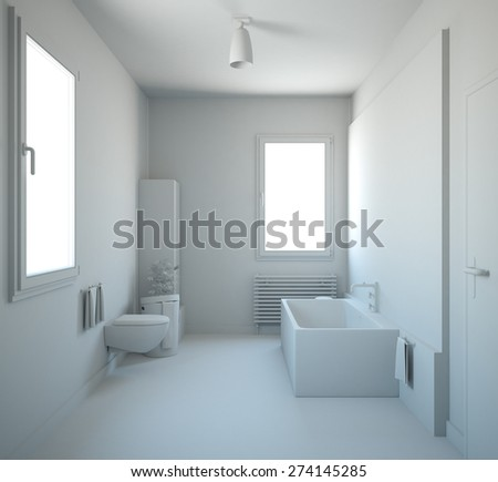 3D interior rendering of a bathroom with furnitures - stock photo