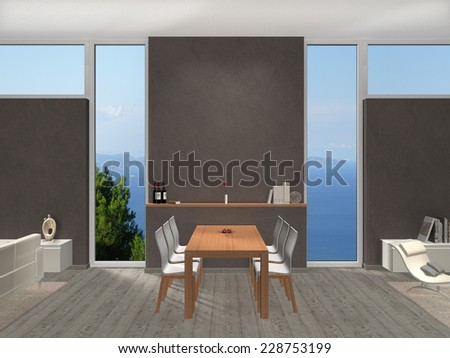 3D interior rendering of a modern dining room with copy space for images and photos.  - stock photo