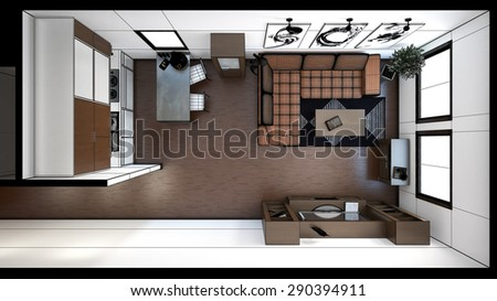 3D interior rendering of a small loft with textures - stock photo