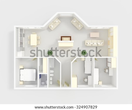 3d interior rendering of coloured perspective apartment with furnishings - stock photo