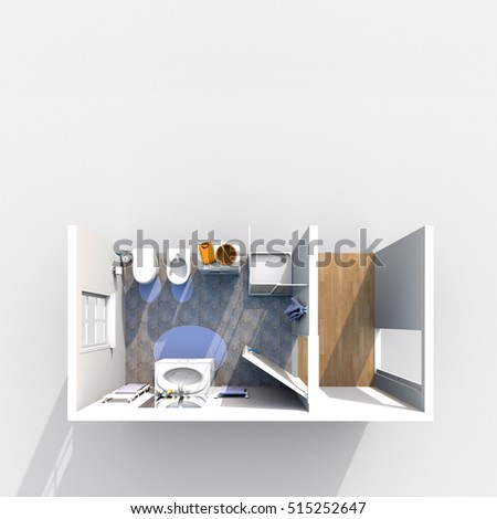 3d Interior Rendering Of Furnished Bathroom Section
