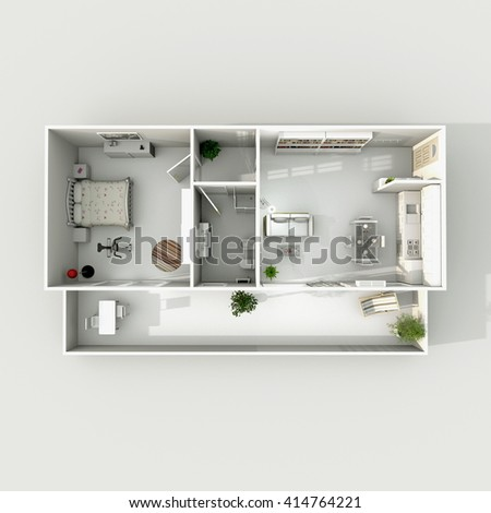 3d Interior Rendering Of Furnished Home Apartment Room Kitchen Bedroom Bathroom