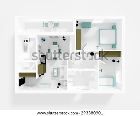 3d interior rendering of roofless apartment with furnishings - stock photo