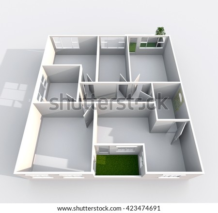 Empty Apartment Bathroom 3d interior rendering empty roofless home stock illustration